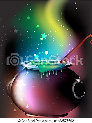 Magic cauldron with a potion - csp22575602