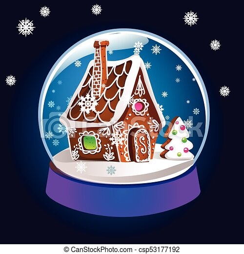 Magic Christmas.Magic Christmas Snow Globe Vector Illustration Glass Snowglobe Gift With Small House Winter Pine Tree And Falling Snow Inside