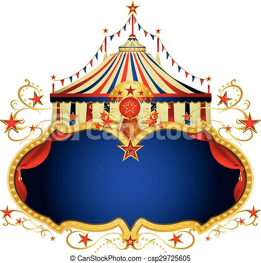 Magic circus blue frame. A circus frame with a big top and a ...