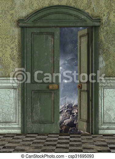 Magic Door Stock Illustration & Magic door with galaxy and stars outside stock illustration ... pezcame.com