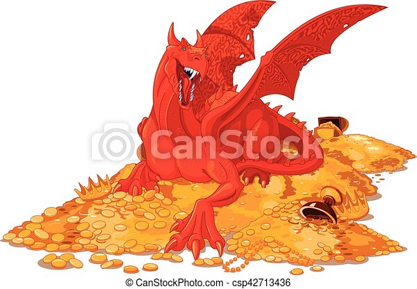 Magic Dragon on the Pile of Gold - csp42713436