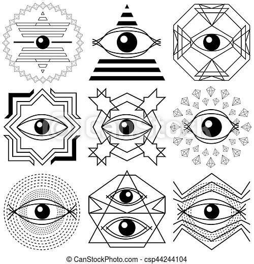 Magic Eyes Set Of Abstract Geometrical Compositions Ancient