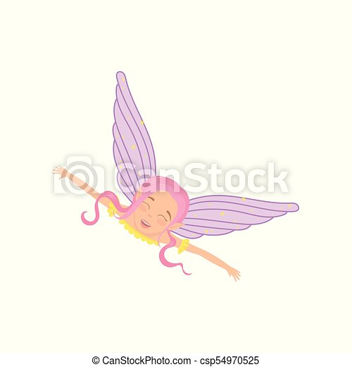 Magic fairy in flying action with arms wide open. Fictional fairytale creature with pink hair, cute elf ears and purple wings. Cartoon girl with happy face. Flat vector design - csp54970525