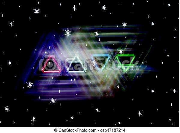 Four Elements Art : Magic four elements symbols spreads the mystic shiny energy