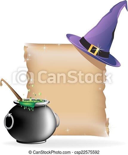 Magic hat and boiling cauldron - csp22575592