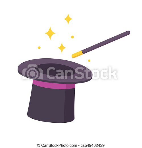 magic hat and wand magician hat and magic wand icon vectors rh canstockphoto com free magic hat clipart black magic hat clipart