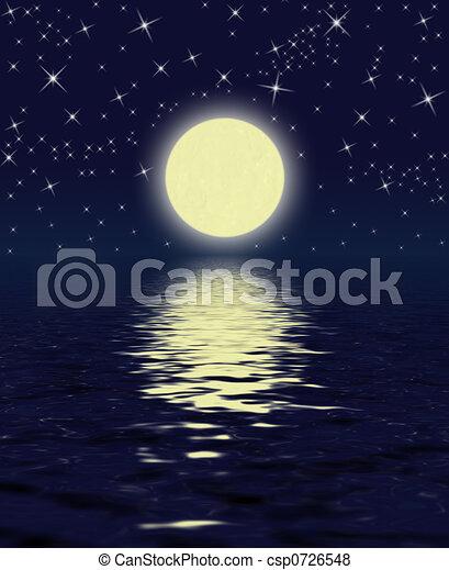 magic night moon stars water