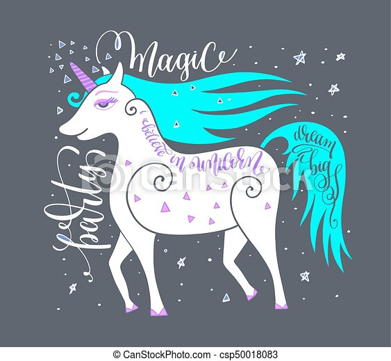 magic party poster with unicorn and hand letterin - csp50018083