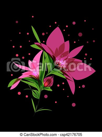 Magic pink flower blooming on black background bright pink magic pink flower blooming on black background csp42176705 mightylinksfo Choice Image