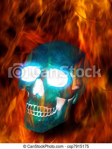 Magic skull in fire - csp7915175