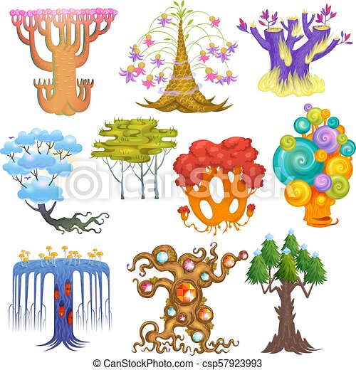 Magic tree vector fantasy forest with cartoon treetops and magical plants  or fairy flowers illustration forestry set of colorful mystery oak isolated