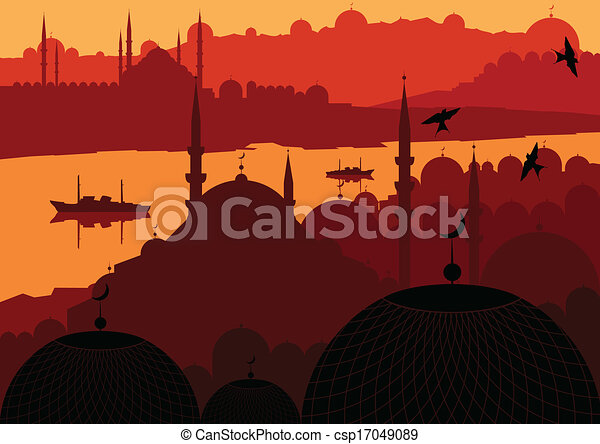 Magic Turkish city Istanbul landscape vector - csp17049089