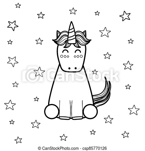 Magic Unicorn Coloring Page For Adults And Kids. Great For Coloring Book.  Fantasy Black And White Background. Vector CanStock
