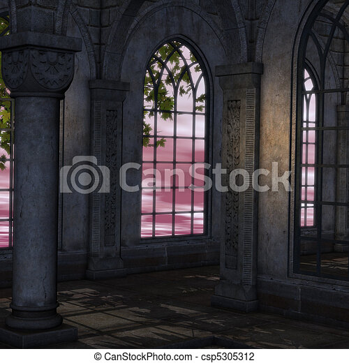 magic window in a fantasy setting. 3D rendering of a fantasy theme for background usage. - csp5305312