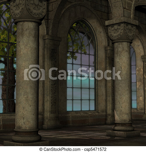 magic window in a fantasy setting. 3D rendering of a fantasy theme for background usage. - csp5471572