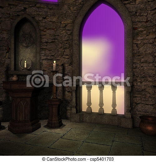 magic window in a fantasy setting. 3D rendering of a fantasy theme for background usage. - csp5401703