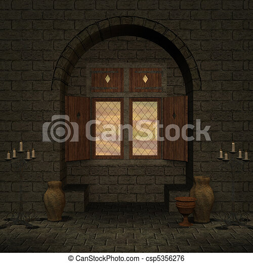 magic window in a fantasy setting. 3D rendering of a fantasy theme for background usage. - csp5356276
