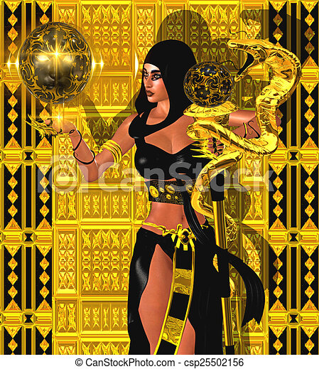 Magic woman with gold snake  - csp25502156