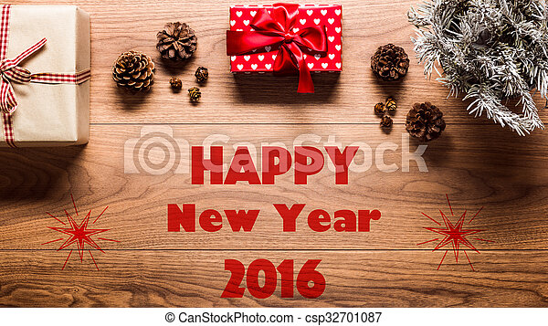 magical happy new year theme background on wooden table csp32701087