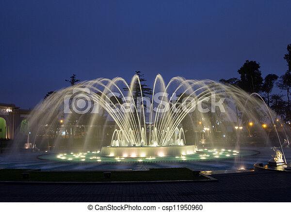 Magical Water Circuit in Reserve Park Lima Peru - csp11950960