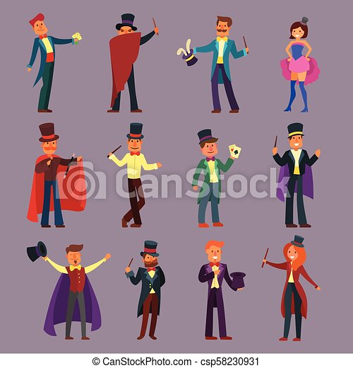 Magician vector illusionist show magic man illusion or magical illusionism and cartoon character person in hat show performance playing cards isolated on white background illustration - csp58230931
