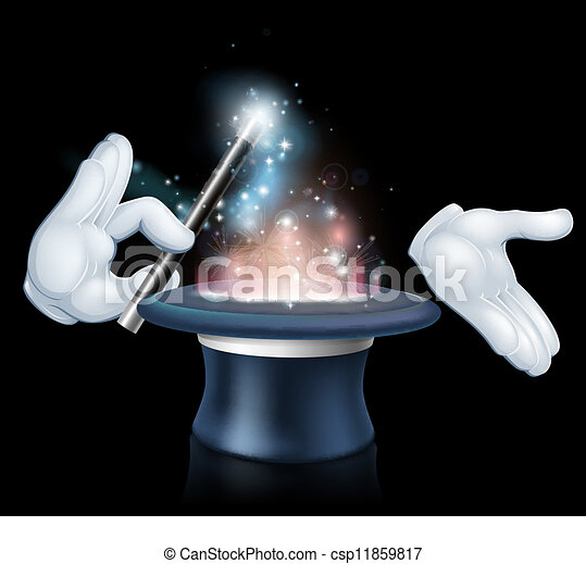 Magician wand and top hat trick - csp11859817