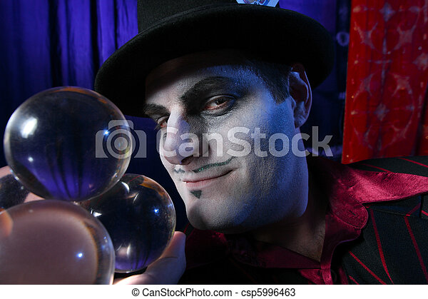 Magician with crystal balls - csp5996463