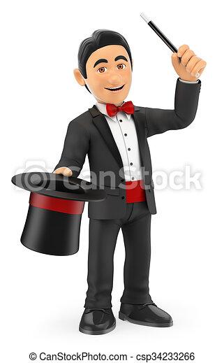 Magicien chapeau baguette 3d gens isol arc arri re plan wand cravate blanc - Dessin de chapeau de magicien ...