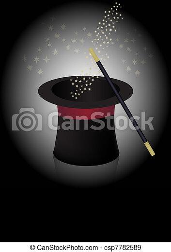 Magicien chapeau baguette baguette pinceau lumineux chapeau toiles magicien - Dessin de chapeau de magicien ...