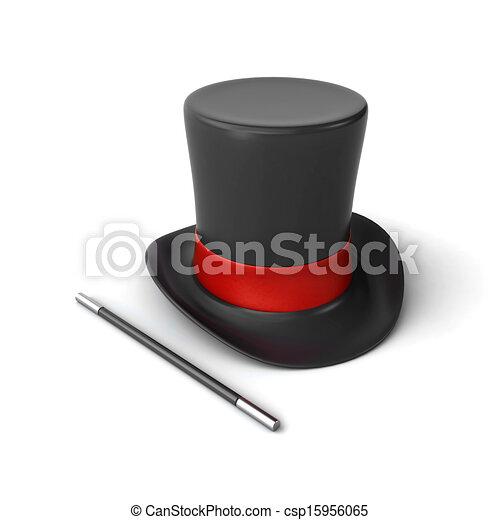 Magicien chapeau baguette magie 3d baguette render fond blanc magicien chapeau - Dessin de chapeau de magicien ...