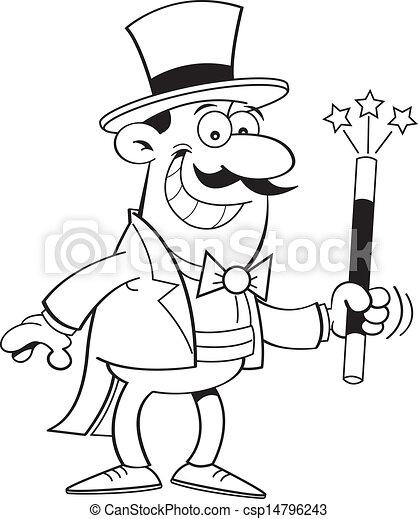 Magicien dessin anim magie wand illustration noir - Magicien dessin ...