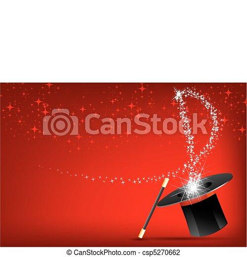 magie, chapeau, crosse - csp5270662