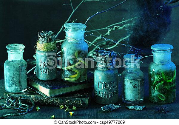 Decoration Sorciere Halloween.Magie Halloween Décoration Sorcière Apothicaire Pots Potions