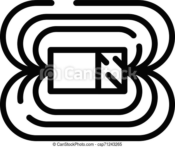 Magnetic field icon, outline style - csp71243265