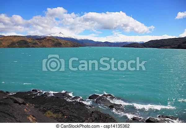 Magnificent azure lake Pehoe - csp14135362