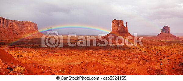 Magnificent rainbow in Monuments Valley - csp5324155