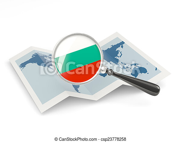 Magnified flag of bulgaria with map - csp23778258