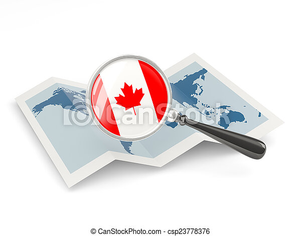 Magnified flag of canada with map - csp23778376