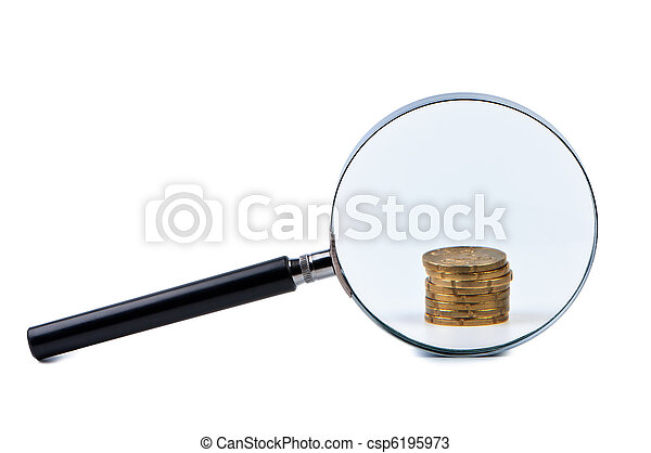 Magnifier and stack of coins isolated on a white background. - csp6195973