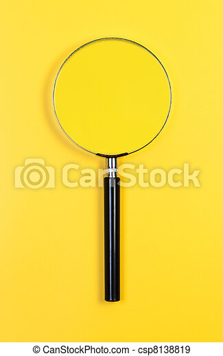Magnifier on yellow background. - csp8138819