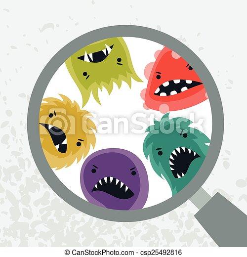 magnifier., weinig; niet zo(veel), virussen, boos, achtergrond - csp25492816