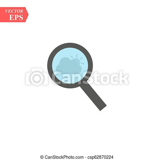 Magnify icon. Modern flat pictogram. Magnifying glass sign. Search icon isolated on background. Simple vector symbol for web site design or button to mobile app. - csp62870224