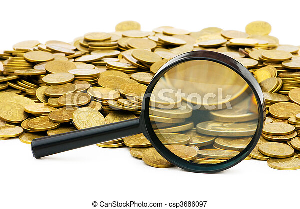 Magnifying glass and lots of gold coins - csp3686097