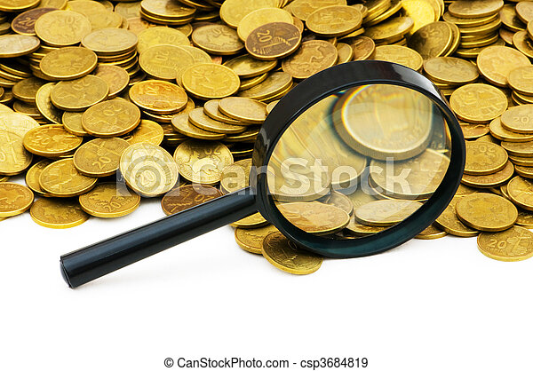 Magnifying glass and lots of gold coins - csp3684819