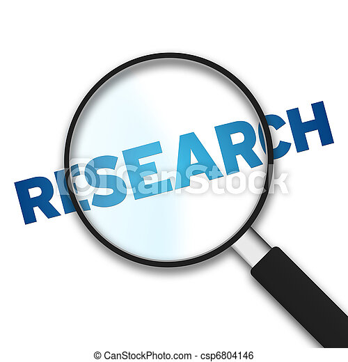 Magnifying Glass and word research - csp6804146