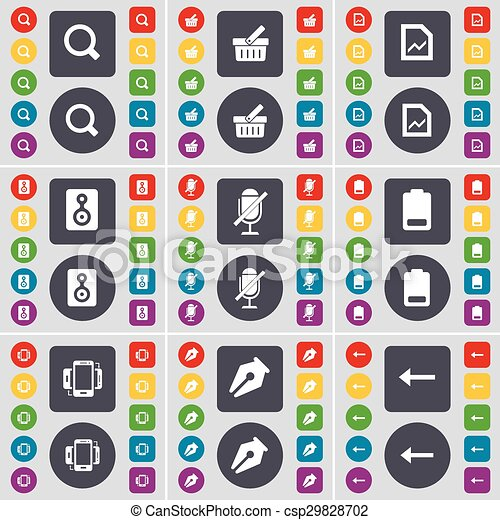 Magnifying glass, Basket, Graph file, Speaker, Microphone, Battery, Smartphone, Ink pen, Arrow left icon symbol. A large set of flat, colored buttons for your design. Vector - csp29828702