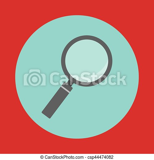 magnifying glass button icon image - csp44474082