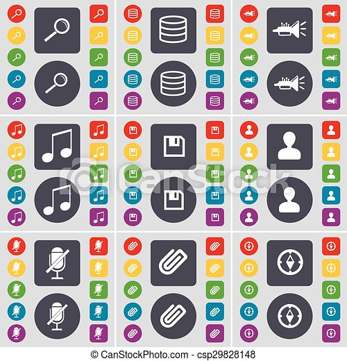 Magnifying glass, Database, Trumped, Note, Floppy, Avatar, Microphone, Clip, Compass icon symbol. A large set of flat, colored buttons for your design. Vector - csp29828148