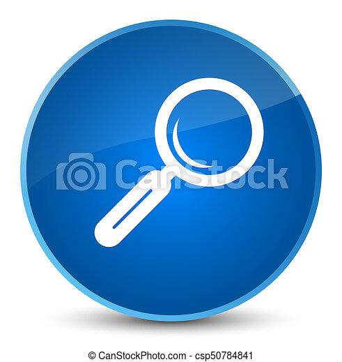 Magnifying glass icon elegant blue round button - csp50784841