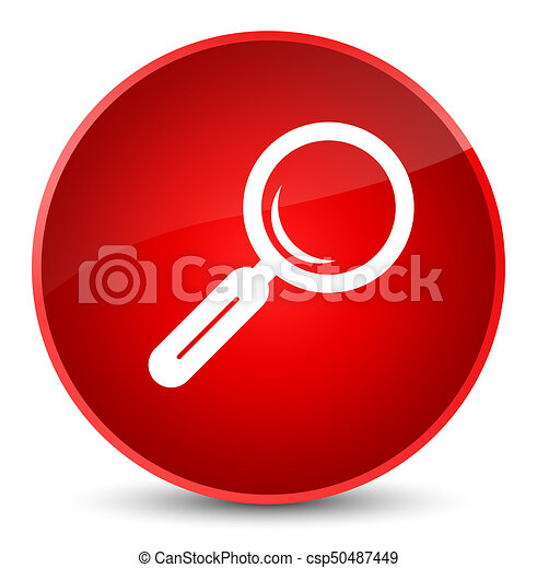 Magnifying glass icon elegant red round button - csp50487449